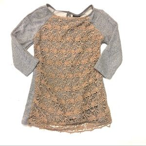 Anthropologie Dolan Le Pompe Lace Knit Tunic Shirt